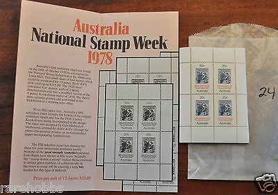 Australia 1978 50th Ann National Stamp Week ~ 24 TOTAL SHEETS