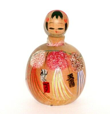 JAPANESE WOOD NODDER KOKESHI DOLL w/ COLORFUL TANABATA STAR FESTIVAL KIMONO !