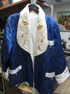 1940's Silk Chinese Smoking Jacket Sz 42