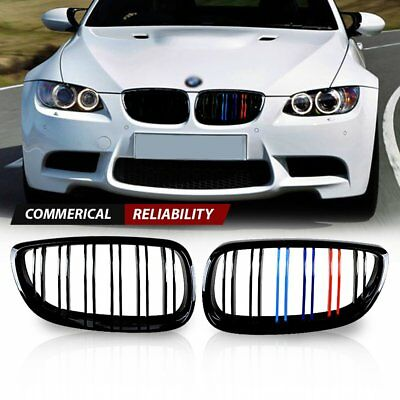 Gloss Black M-color Double Line Kidney Grille For 2007-2010 BMW E92 E93 3 Series