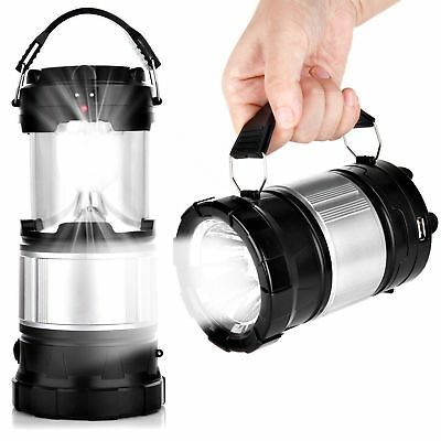 Camping Hiking Portable Solar Lantern AC Rechargeable LED Tent Lamp W/ USB Black