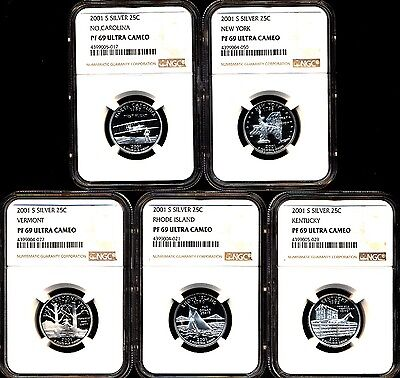 2001 S Proof Silver State Quarter Set Ngc Pf69 Ultra Cameo 5 Coin Set