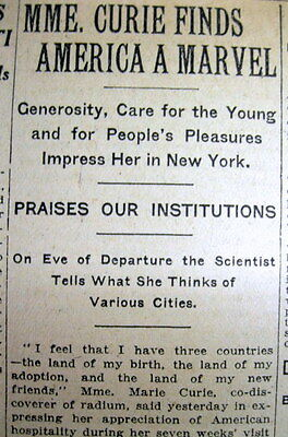 1921 NY Times newspaper Radium discoverer MADAME CUIRIE visits US for 1st time