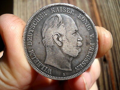 Nice 1876-A 5 MARK SILVER COIN ~ Germany Prussia