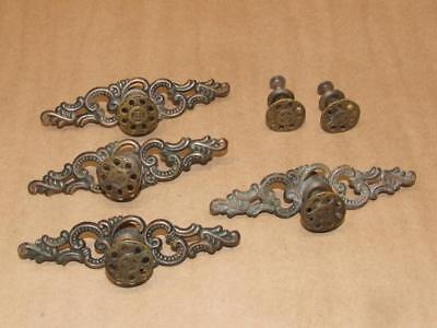 6 Vintage JB Pat Pend Brass Drawer Cabinet Pull Knob & 4 Scrolled Backplate Set