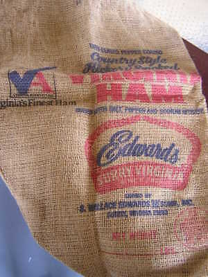 Country Style Hickory Smoked Edwards Virginia Ham Burlap Bag Sack Surry Virginia