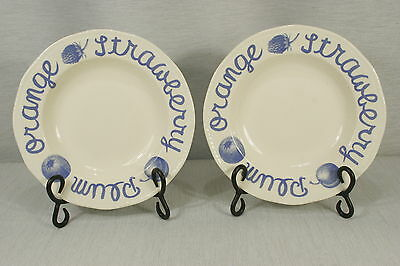 """LOT of 2 Wood & Sons COUNTRY BLUE 9"""" Rimmed Soup, Pasta Bowls, EXC + !"""