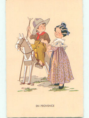 Pre-Chrome foreign signed CUTE GIRL WITH BOY AS COWBOY ON TOY HORSE k3563
