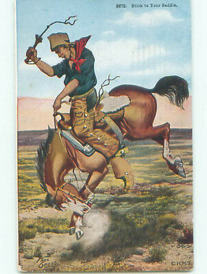 Pre-Linen signed WESTERN COWBOY WITH WHIP ON HORSE k6600