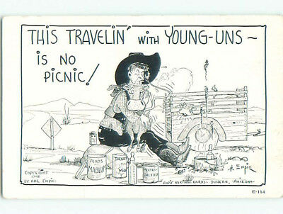 Unused 1946 western signed COWBOY TRAVELS WITH COW k6395