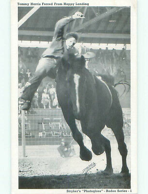 Unused 1940's western TOMMY HARRIS ON BUCKING BRONCO HORSE AT RODEO k8391