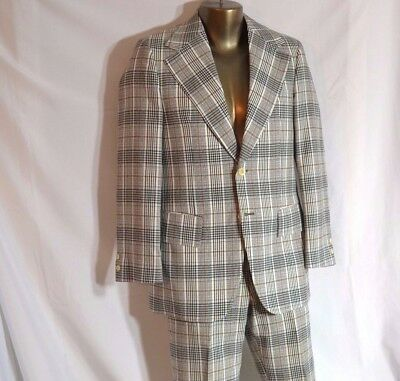 Groovy Gray Plaid Suit Jacket Blazer & Pants Vtg - Measurements in Description