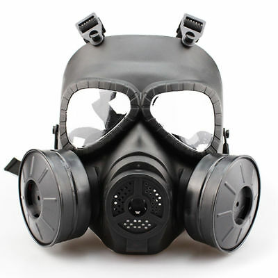 US Full Face Airsoft Gas Mask CS Edition Perspiration Facepiece with Double Fan