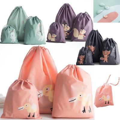 3pcs Waterproof Drawstring Bag Travel Laundry Shoes Toy Organizer Storage Bags Q