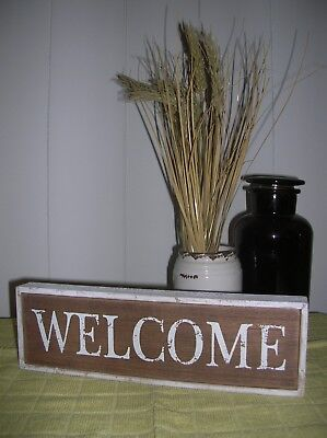 Wooden Distressed White Welcome Word Block Wall Sign Plaque