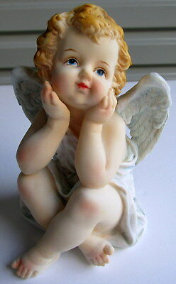 Adorable Ceramic 13Cm Angel Cherub Statue Figurine Ornament Home Nursery Decor