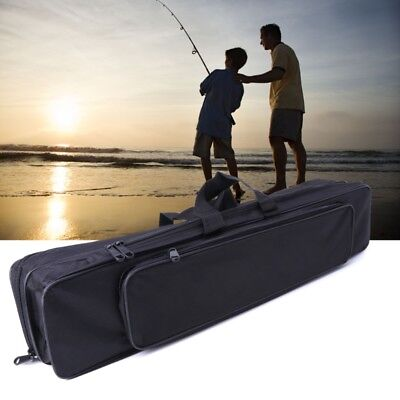 3 Layers Fishing Bags Folding Rod Pole Carrier Storage Case Tackle Black 70/80cm
