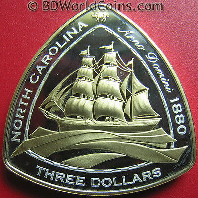 "2006 Bermuda $3 Silver Proof Gold Plated ""north Carolina"" 1880 Shipwreck Coa Rrr"