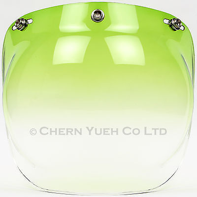 Motorcycle 3 Snap Helmet Green Gradient Bubble Visor Lens Sun Shield Face Mask