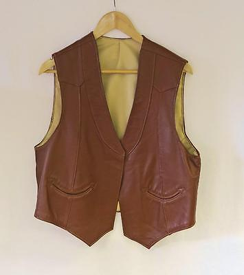 MENS VINTAGE 1970s SOFT TAN LEATHER WESTERN STYLE WAISTCOAT VEST SIZE 40