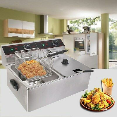 5000W Parallel Bars Electric Fryer Commercial Kitchen Fryers 5.5L*2 Sliver New
