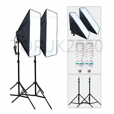 2x850W Photography Studio Softbox Continuous Lighting Soft Box Light Stand Kit