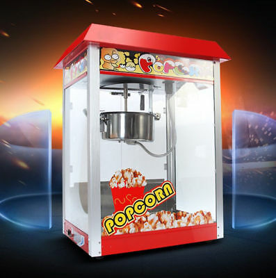 New Red Commercial Popcorn Automatic Stick Pan High Capacity Popcorn Machine .