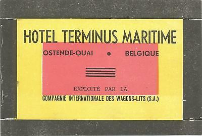 HOTEL TERMINUS MARITIME luggage WAGONS-LITS label (OSTENDE)