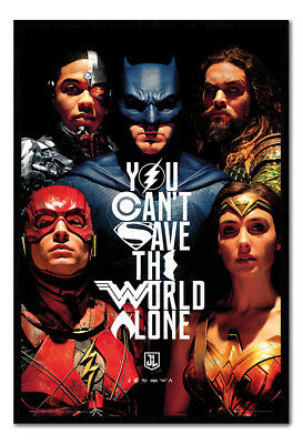 Framed Justice League Faces TV Poster New