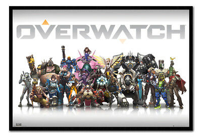 Framed Overwatch Characters Poster New