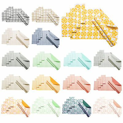 Set of 8 - 100% Cotton Kitchen Table Napery Set 4 x Placemats plus 4 x Napkins