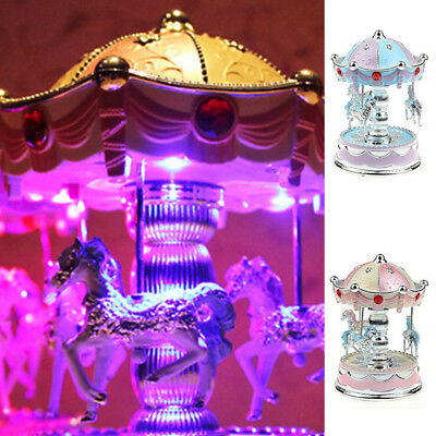 Vintage Horse Carousel Music Box Toy Led Light Clockwork Musical Toys Xmas Gift