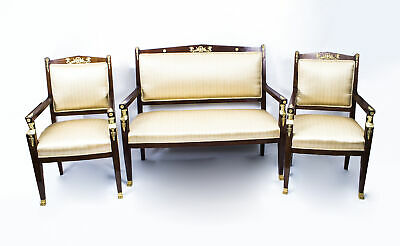 Antique French Empire Mahogany 3 Piece Salon Suite c.1900