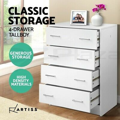 Tallboy Dresser 4 Chest of Drawers Table Cabinet Bedroom Storage White
