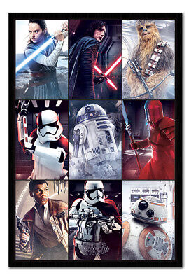 Framed Star Wars The Last Jedi Characters Poster New