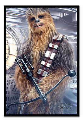 Framed Star Wars The Last Jedi Chewbacca Bowcaster Poster New