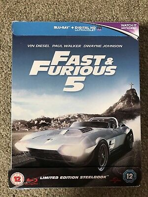 Fast and Furious 5 Zavvi UK Exclusive Limited Edition Steelbook Blu-Ray RARE