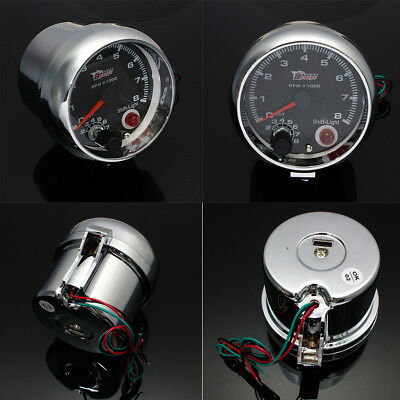 "12V 3.75"" Black Face Gasoline RPM Tachometer Tacho Gauge Rev Counter Shift Light"