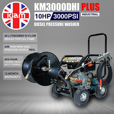 £13/WEEK on LEASE Kiam Diesel Pressure Jet Washer KM3000DHI PLUS 30M Hose Reel