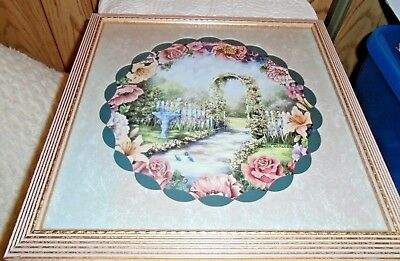 Vintage Retired Home Interiors Picture 14X14 Wood Frame~Floral Garden