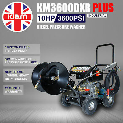 £14/WEEK on LEASE Kiam Diesel Pressure Jet Washer KM3600DXR PLUS 30m Hose Reel
