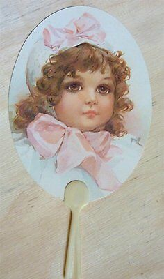 Vintage Victorian  Inspired Paper Fan Greeting Card Girl