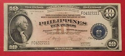 Philippines, 1944 (ND) 10 Pesos Victory Series P-97 Crisp VF