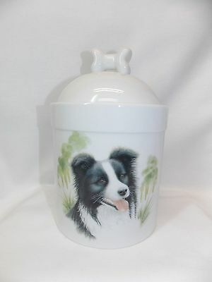 Border Collie  Dog Porcelain Treat Jar Fired Head Decal On Front 8 In Tall