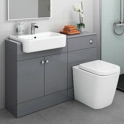Modern Gloss Grey Basin Sink Bathroom Vanity Unit Furniture Storage Cabinet