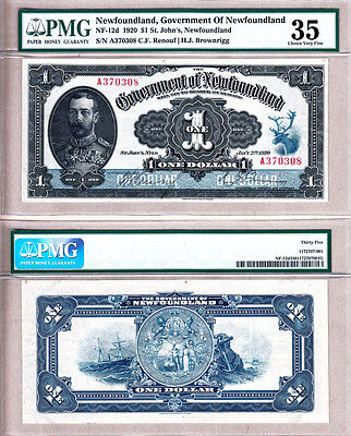 1920 $1 Government of Newfoundland KGV Admiral Portrait Note PMG CH VF35. NF-12d
