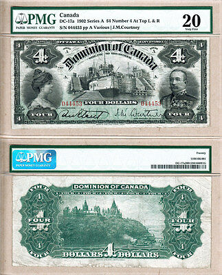 1902 $4 Dominion of Canada DC-17a Sault Ste Marie Canadian Locks  PMG VF20