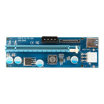 USB 3.0 PCI-E Express 1x to 16x Extender Riser Card with SATA Power Cable AC914
