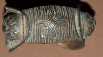 Antique Greek medieval bronze crusader fertility bracelet with cross