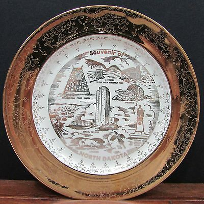 "Crest-O-Gold 22k Sabin Pottery 7"" dia Old North Dakota State Plate FREE S/H"